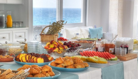 Breakfast Buffet prepared at Minois Village Hotel Suites and Spa. Croissants, fruit, and marmalade.