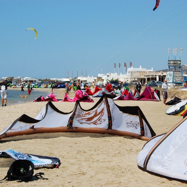 Kite surfing kites lying on the sand. Parasporos beach is popular with kite surfers visiting Paros